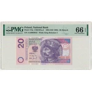 20 złotych 1994 - AA - PMG 66 EPQ - niski numer seryjny