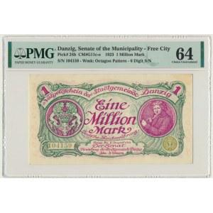 Gdańsk 1 milion marek 08 sierpnia 1923 num. 5 cyfrowa z ❊ obróconą - PMG 64