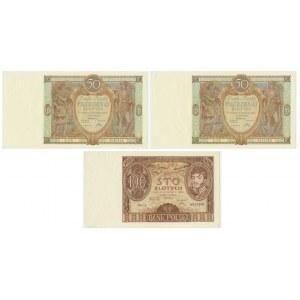 Zestaw banknotów 50 złotych 1929 (2 szt.) oraz 100 złotych 1934 (1 szt.)