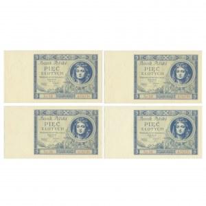 Zestaw, 5 złotych 1930 (4 szt.)
