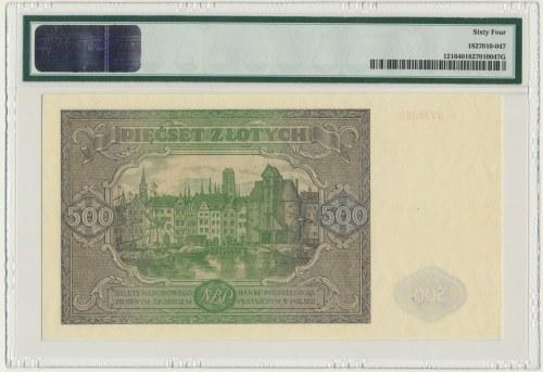 500 złotych 1946 - I - PMG 64 - rzadszy
