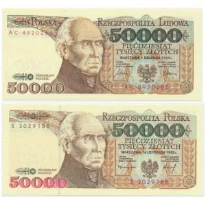 50.000 złotych 1989-1993 (2 szt.)
