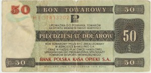 Pewex 50 dolarów 1979 - HJ - rzadki wysoki nominał