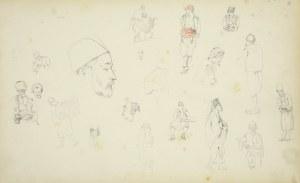 Stanisław Chlebowski (1835-1884), Szkice postaci w różnych pozach w strojach orientalnych i szkice głów