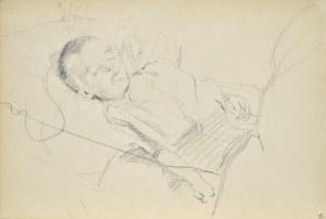 """Włodzimierz Tetmajer (1861 - 1923), Popiersie młodej kobiety na tle pejzażu z opisem """"Poezya"""" oraz szkic mężczyzny, ok. 1900"""