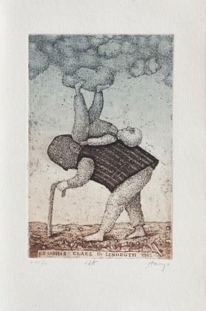 Stasys EIDRIGEVICIUS (ur. 1949), Ex Libris - Ekslibris Claes G. Lindroth, 1985