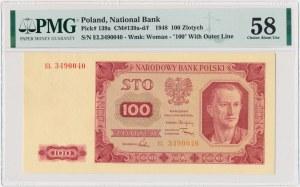 100 złotych 1948 - EL - PMG 58 - rzadsza odmiana