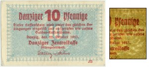 Gdańsk, 10 fenigów 1923 Październik - znw. KOGA - RZADKI