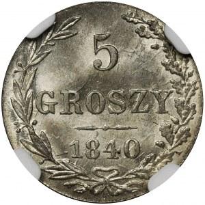 5 groszy Warszawa 1840 MW - NGC MS67 - OKAZOWY