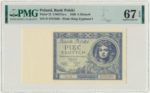 5 złotych 1930 - Ser.D - PMG 67 EPQ - RZADKOŚĆ w unikalnym stanie