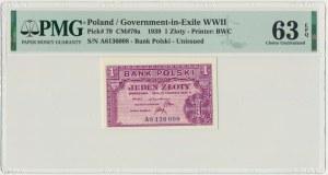 1 złoty 1939 - A - PMG 63 EPQ