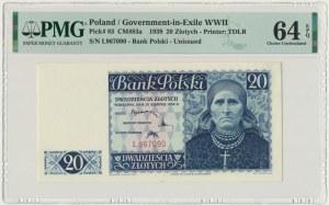 20 złotych 1939 - L - PMG 64 EPQ