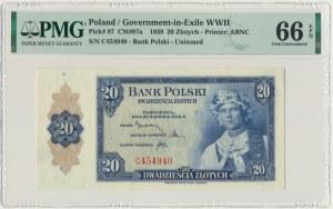ABNCo, 20 złotych 1939 - C - PMG 66 EPQ