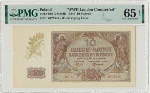 10 złotych 1940 - L - London Counterfeit - PMG 65 EPQ