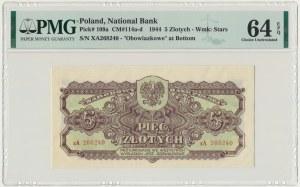 5 złotych 1944 ...owe - xA - PMG 64 EPQ - rzadka seria zastępcza