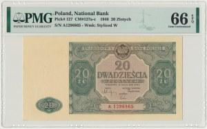 20 złotych 1946 - A - PMG 66 EPQ - pierwsza seria