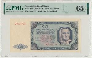 20 złotych 1948 - C - PMG 65 EPQ - RZADKOŚĆ w tym stanie