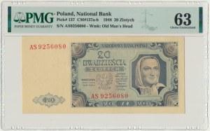 20 złotych 1948 - AS - PMG 63 - duże litery serii