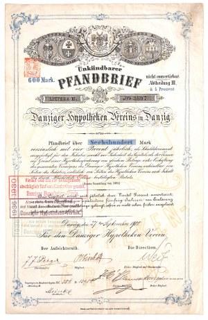 Gdańsk, Danziger Hypotheken Vereins, 4% list zastawny 1900, 600 marek