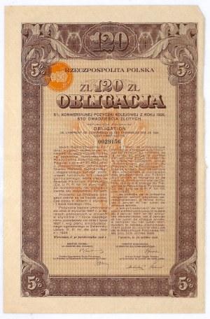 5% konwersyjna pożyczka kolejowa 1926, obligacja 120 zł