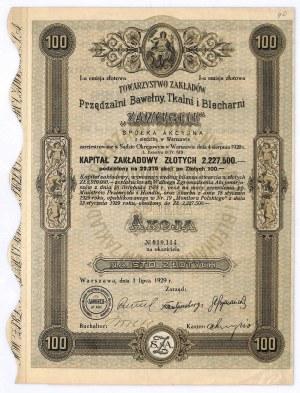 Towarzystwo Zakładów Przędzalni Bawełny, Tkalni i Blecharni ZAWIERCIE, Em.I, 100 złotych 1920