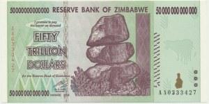 Zimbabwe, 50 trillion dollars 2008 - AA -