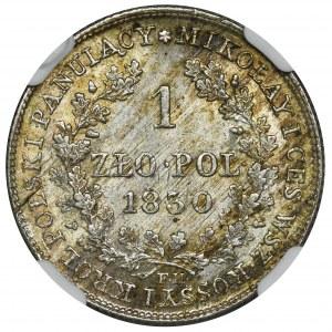 Królestwo Polskie, 1 złoty polski Warszawa 1830 FH - NGC MS62
