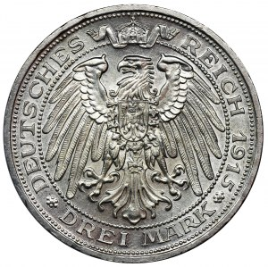 Niemcy, Królestwo Prus, Wilhelm II, 3 marki Berlin 1915 A