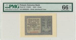 1 złoty 1940 - B - PMG 66 EPQ