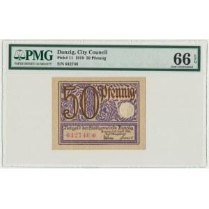 Gdańsk, 50 fenigów 1919 - fioletowy - PMG 66 EPQ