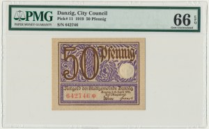 Danzig, 50 Pfennig 1919 - PMG 66 EPQ