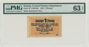 Danzig, 1 Pfennig 1923 October - PMG 63 EPQ