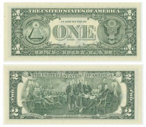 USA, $1 and $2 dollars 1995 with Treasurer signatures