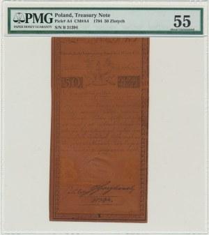 50 złotych 1794 - B - PMG 55 - PIĘKNA