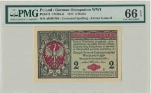2 marki 1916 Generał - A - PMG 66 EPQ - RZADKI I PIĘKNY