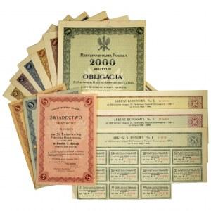 Zestaw papierów wartościowych 5% państwowej pożyczki konwersyjnej z 1924 r. (12 szt.)