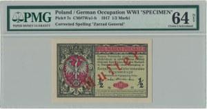 1/2 marki 1916 Generał - WZÓR - PMG 64 NET