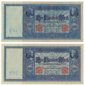 Niemcy, zestaw 100 marek 1910 (2 szt.) - kolejne numery