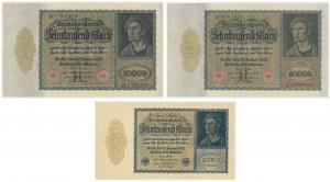 Niemcy, zestaw 10.000 marek 1922 (3 szt.)