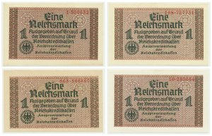 Niemcy, pieniądz okupacyjny, 1 marka (1940-1945) (4 szt.)