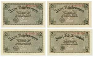 Niemcy, pieniądz okupacyjny, 2 marki (1940-1945) (4 szt.)