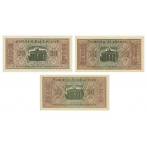 Niemcy, zestaw 20 Reichsmark (1939-44) (3 szt.)