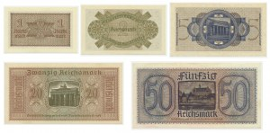 Germany, set of occupation currency 1-50 mark 1940-45 (5 pcs.)