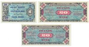 Aliancki pieniądz okupacyjny, zestaw 10-20 marek 1944 (3 szt.)