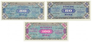 Germany, allied occupation money, set of 50 and 100 mark 1944 (3 pcs.)