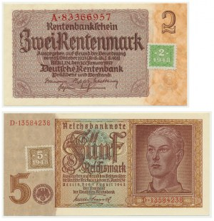 Niemcy, Okupacja Sowiecka, zestaw 2 i 5 marek (1948) (2 szt).
