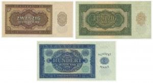 Germany (DDR), lot 20-100 mark 1948 (3 pcs.)