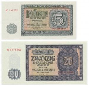 Niemcy (DDR), zestaw 5-20 marek 1955 (2 szt.)