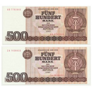 Niemcy (DDR), zestaw 500 marek 1985 (2 szt.)