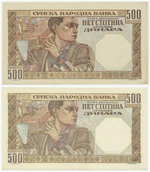Serbia, Okupacja niemiecka, 500 dinarów 1941 (2 szt.) - różne znaki wodne